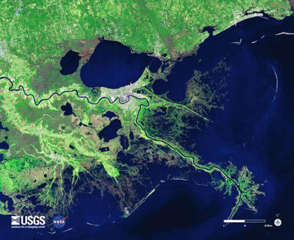 A satellite image of the lower Mississippi River and the coastal area around New Orleans.