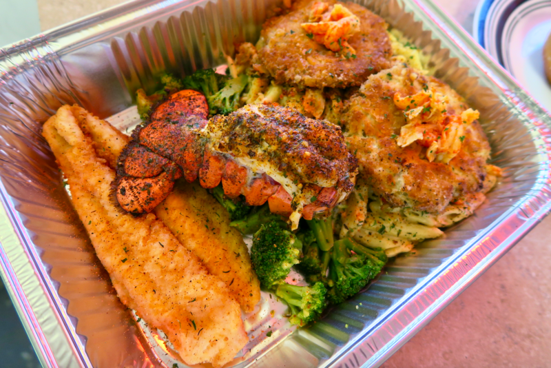 """The """"seafood disaster"""" platter from PeeWee Crabcakes on the Go, a take-out spot in New Orleans."""