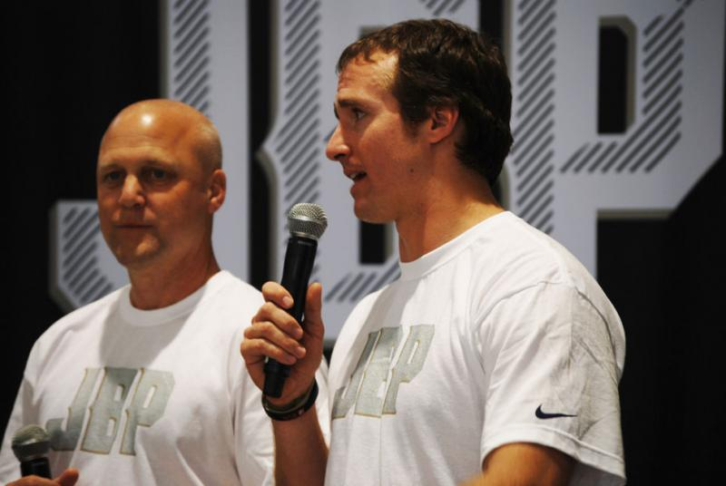 Mayor Mitch Landrieu and Saints quarterback Drew Brees attend the opening of a new gym at the Joe W. Brown Memorial Park in New Orleans East.