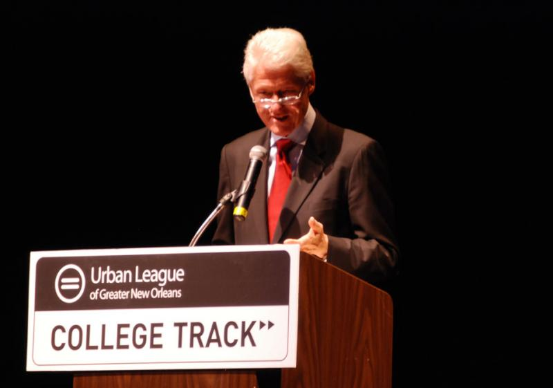 President Bill Clinton gave the keynote address to the 37 graduating seniors in the College Track Class of 2012.