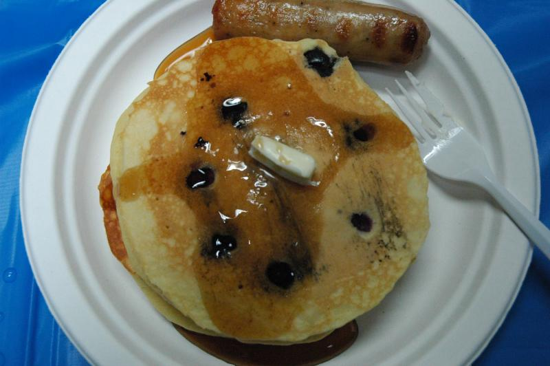 Blueberry pancakes and sausage from Canal St Bistro! Yu-um.
