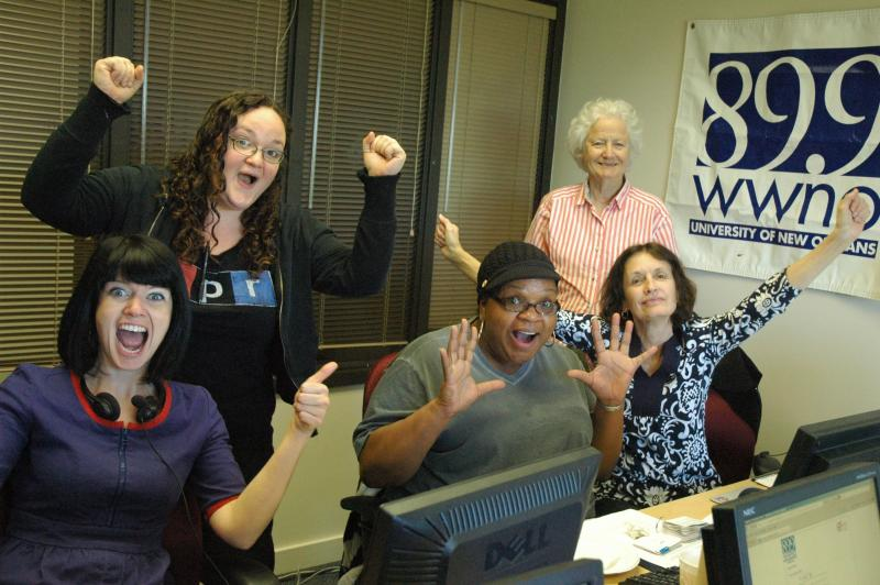 Saturday's volunteers celebrating a successful shift up in the phone bank room.