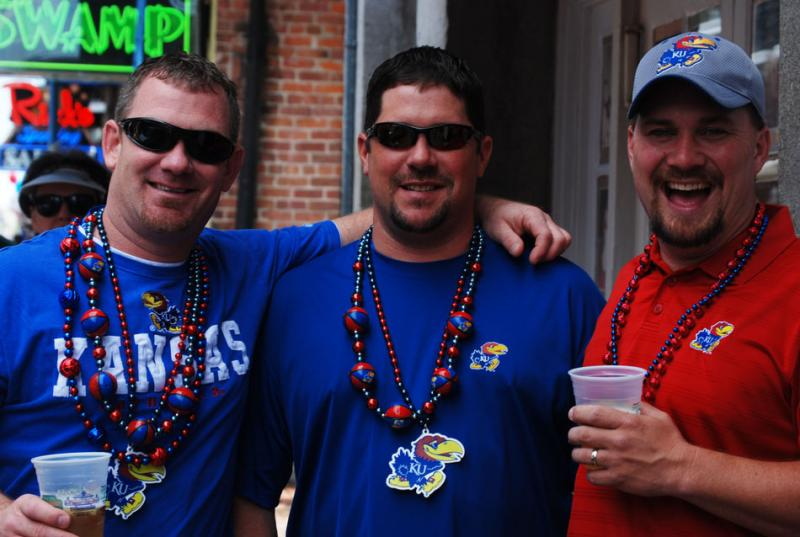Fans of the Kansas Jayhawks revel on Bourbon Street during the 2012 Men's Final Four weekend in New Orleans.