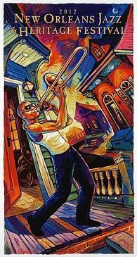 Trombone Shorty graces the center of this year's official Jazzfest poster.