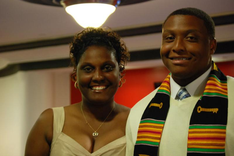 Christopher Williams, accompanied by his mother Charlene, attended his high school graduation through the Urban League of Greater New Orleans' College Track program.