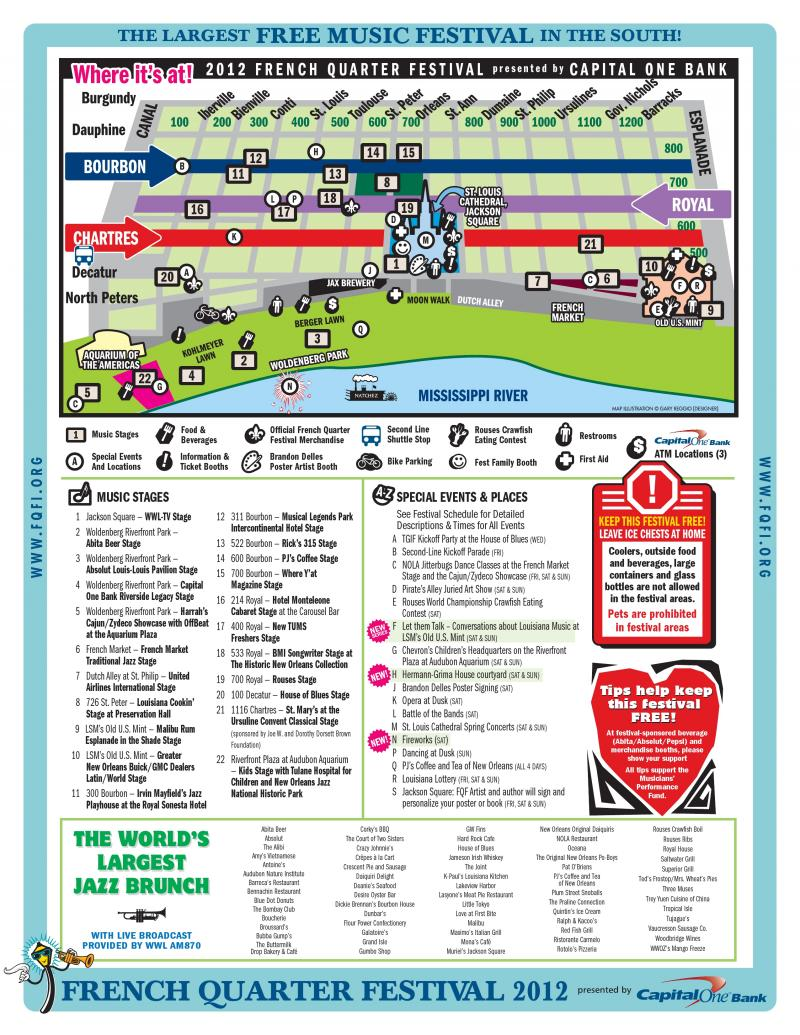 2012 French Quarter Festival event map.