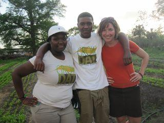 Grow Dat farmers Muffin Stevenson and Ace Shields with co-director Johanna Gilligan.