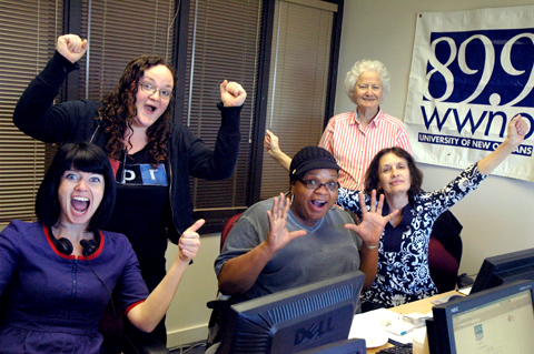 Some of our great volunteers celebrating a successful shift in the phone bank room.