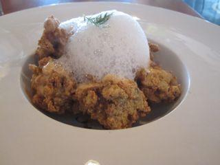 Manchego foam tops fried oysters at Root.