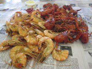 Shrimp and crawfish share the paper at Sal's Seafood.