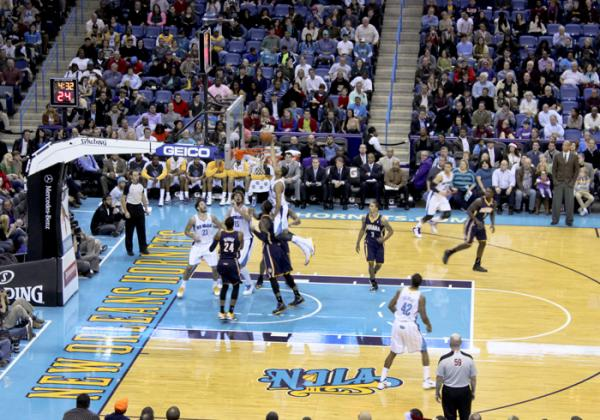 Anthony Davis with a put-back dunk in the fourth quarter of Saturday night's game at the New Orleans Arena. The Hornets lost to the Pacers 81-75.