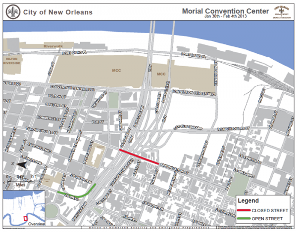 A portion of Annunciation Street will be closed through Feb. 4 to facilitate Super Bowl traffic movement.