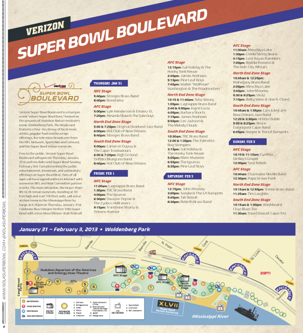 Super Bowl festival map and schedule.