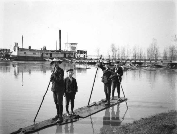 This is one of several photographs that Alexander Allison shot of the flooded conditions along the Mississippi River at the turn of the 20th century. Tulane University professor Oliver Houck used this picture on the cover of his recently released book, Down on the Batture