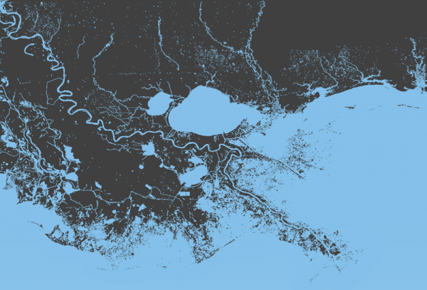 The water/land boundaries in southeast Louisiana.