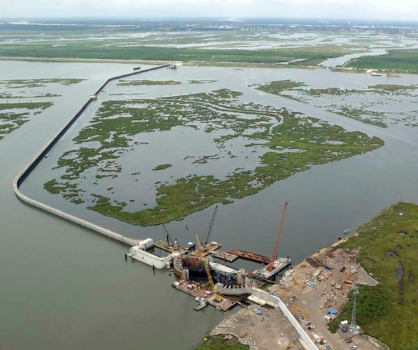 Construction of the Inner Harbor Navigation Canal Surge Barrier in Lake Borgne. The barrier is 1.8 miles long.