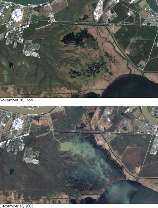 The Davis Pond Freshwater Diversion Structure in 1999 and 2003. The structure part of a project that is attempting to reverse land loss and ecosystem degradation in the marshlands.