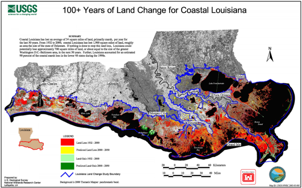 Land loss map from the United States Geological Survey.