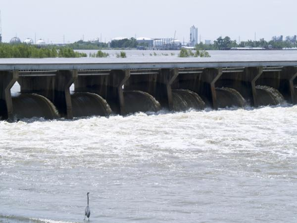 The Bonnet Carré Spillway when it was opened in 2008. Scientists now say much of the sediment and water the Mississippi River carries into Louisiana never makes it to the Gulf of Mexico.