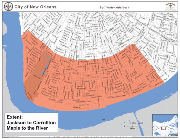 A map of the extent of the precautionary boil water advisory. The advisory was put in place after a large water main ruptured Tuesday morning in the Carrollton neighborhood.