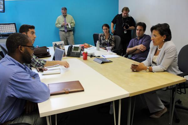 US Secretary of Commerce Penny Pritzker engaged with local entrepreneurs at the Idea Village.