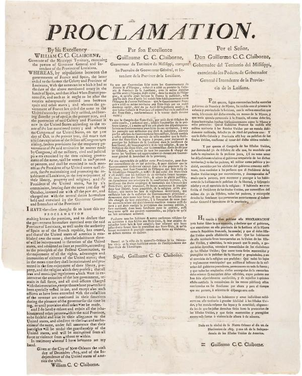 Proclamation to the People of New Orleans, 12/20/1803.