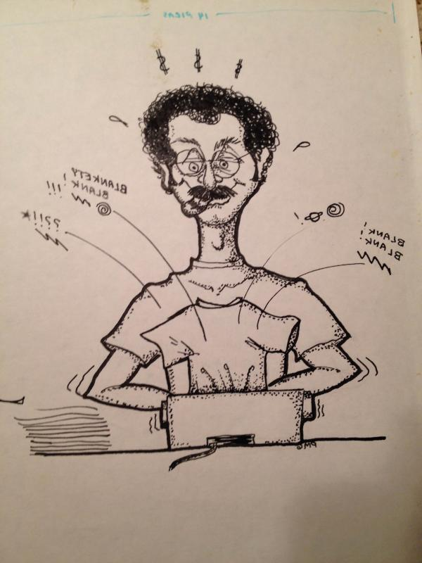 A sketch of James Asher 'doing his thing'.