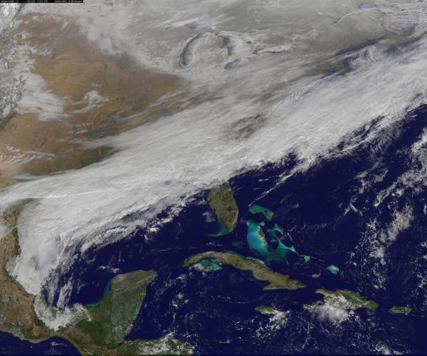 "This image, captured by a NOAA/NASA weather satellite at 8:45 a.m. Tuesday, shows a ""winter blanket"" extending across much of the southern U.S."