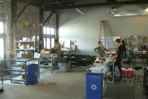 The new Good Eggs warehouse located on Tchoupitoulas Street is the nucleus of their operation. Vendors drop off their products, which are then separated into individual orders and shipped out to pick up spots around New Orleans.
