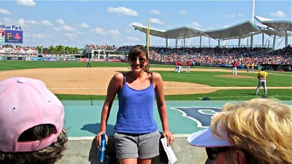 Sarah watching the Sox during 2013 spring training.