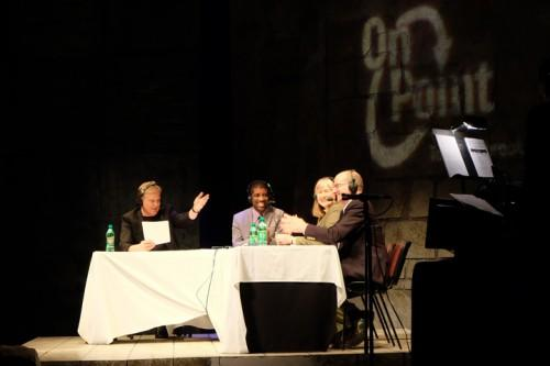 Host Tom Ashbrook joins Jarvis Deberry, Denise Reed and Tommy Michot on the stage of Le Petit Theatre in New Orleans for On Point Live! on Thursday, Jan. 24.