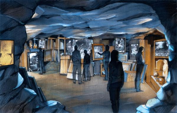 An artist's rendering of the Monuments Men exhibit planned for the National World War II Museum.