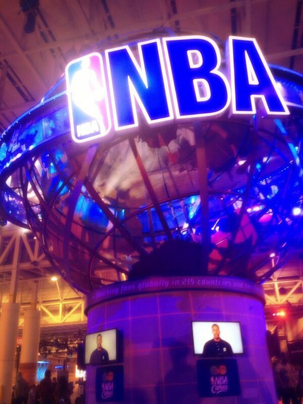 The gigantic central display at the NBA Jam Session, which has taken over much of the Morial Convention Center.