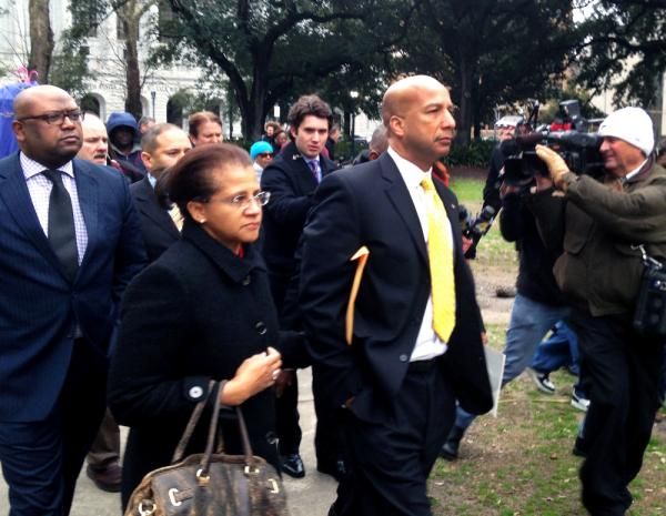 Former New Orleans Mayor C. Ray Nagin leaving the federal courthouse today after a jury found him guilty of 20 counts of corruption.
