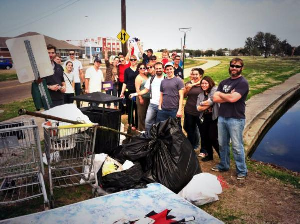 The NOLA Trash Mob during a recent cleanup at Bayou St. John.