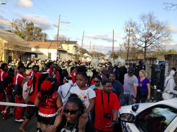 Hundreds of kids in school bands warmed up before hitting the parade route on Sunday, as the Krewe of Bacchus prepared to roll.