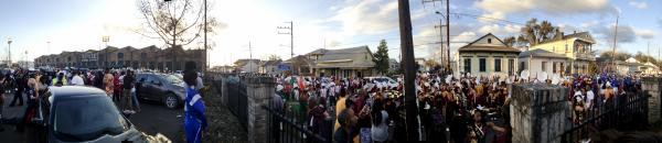 A panorama of just a portion of the bands preparing to march in the 2014 Bacchus parade. Click to enlarge the photo.