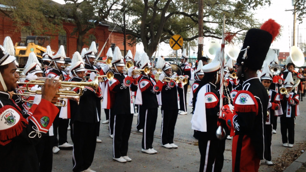 The Tchoupitoulas staging area is a rare opportunity to see the bands perform together, rather than spread out along the parade route.