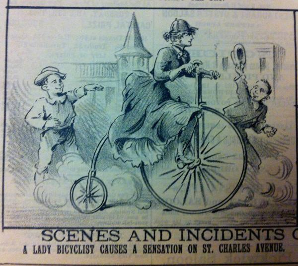 Cartoon, The Mascot, New Orleans, 27 July 1891. Scenes and Incidents — A Lady Bicyclist Creates a Sensation on St. Charles Avenue.