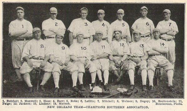 The 1910 New Orleans Pelicans baseball team; Shoeless Joe Jackson is #12.
