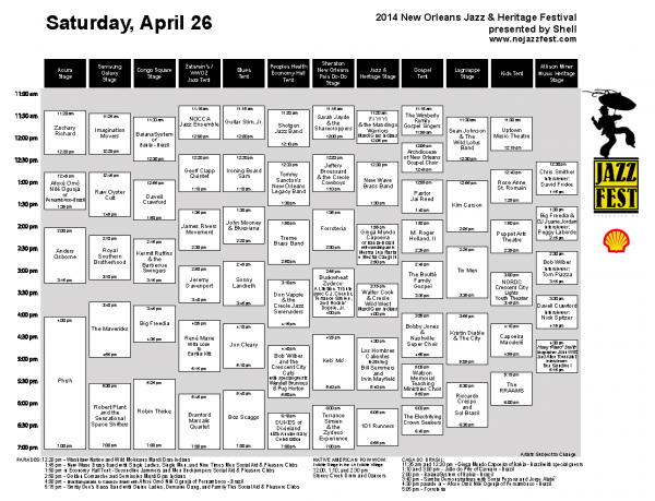 Jazz Fest Music Schedule For Saturday, April 26