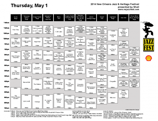Jazz Fest Music Schedule For Thursday, May 1