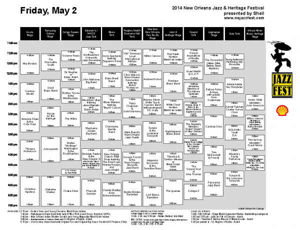 Jazz Fest Music Schedule For Friday, May 2