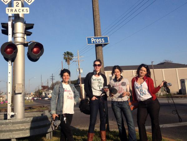 Nina Feldman, Tina Antolini, Eve Abrams and Marie Lovejoy interviewed drivers and pedestrians as they waited for the Press Street train to clear Saint Claude Avenue.