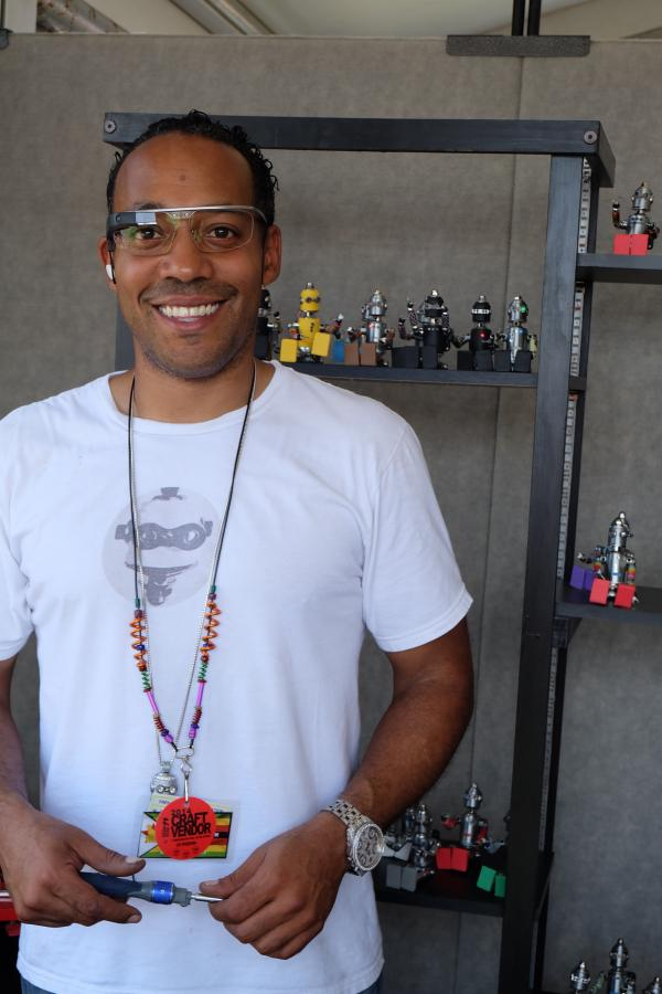Sean Dixson is the creator of Voodoo Bots. This year is his first time being a Jazz Fest artisan demonstrator.
