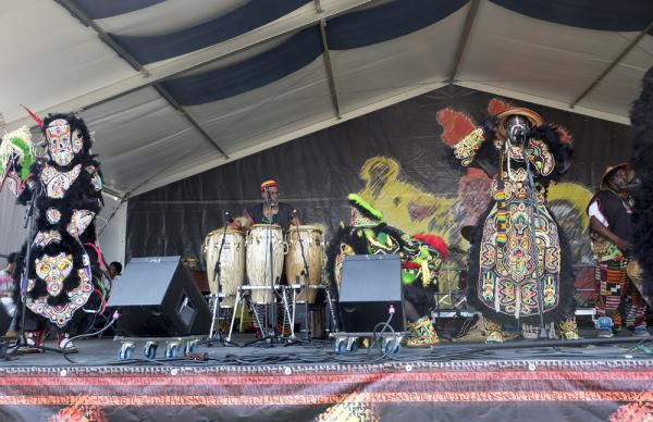 The Fi-Ya-Ya Mardi Gras Indians opened the Jazz and Heritage Stage on Saturday morning.