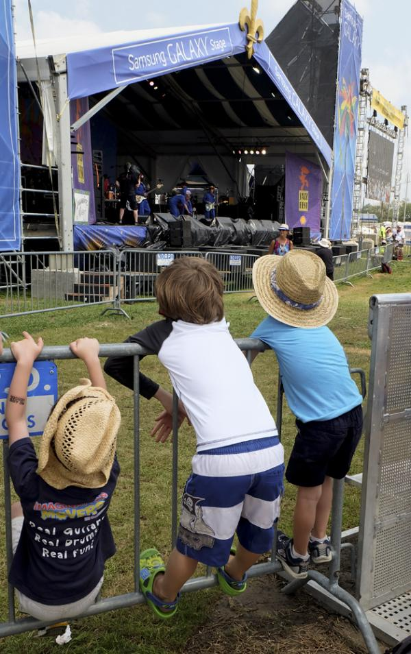 Festers of all sizes enjoying the Imagination Movers at the Jazz Fest Samsung Galaxy Stage on Saturday.