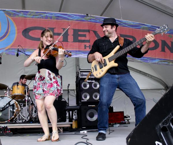 Dominique Dupuis and her band from New Brunswick played Sunday morning. The festival puts a heavy focus on music from throughout the Acadian diaspora.