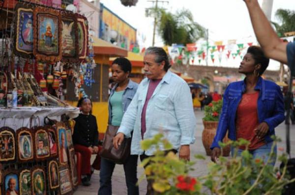 From left: LisaGay Hamilton, Edward James and Yolonda Ross shooting a scene in Mexico.