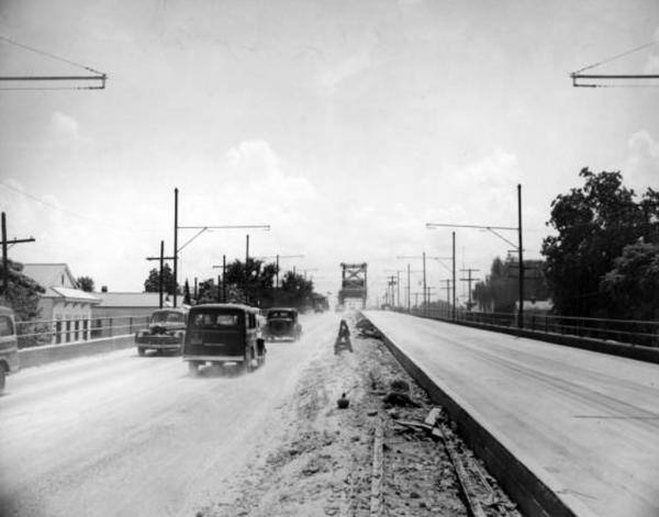 Historic photo of the St. Claude Ave. bridge. Community activists are pushing for a dedicated lane on the bridge to help residents without cars traverse the Industrial Canal.